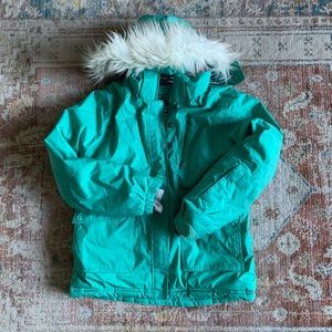 Lnwot Ll Bean Winter Coat - Teal Green Faux Fur